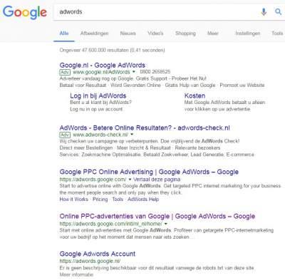 Google Adwords in zoekresulten
